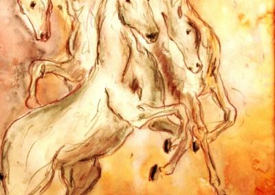 Caroline Degroiselle, Danse équestre 3440-Pastel-Encre-33x43