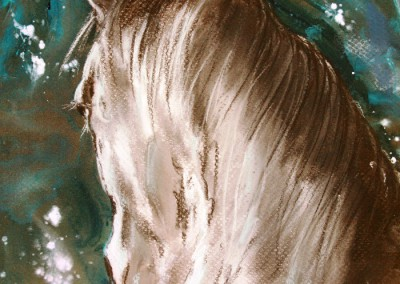 Caroline Degroiselle, Face aux étoiles 3414-Pastel encre-35X35