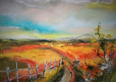Caroline Degroiselle, Le chemin soleil joli Pastel-Aq 35x30