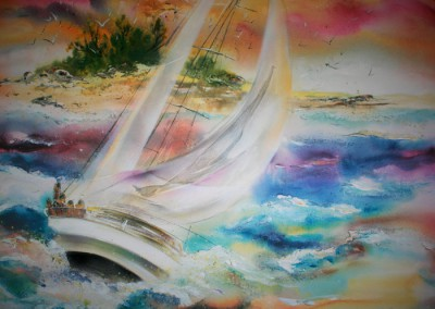 Caroline Degroiselle, Le voilier joyeux au soir tendre 3515-40F-AC