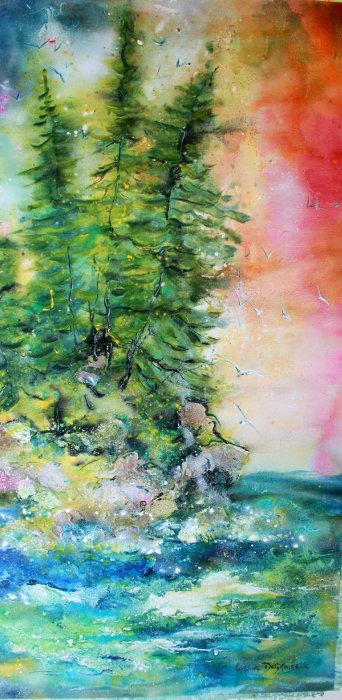 Caroline Degroiselle, Les pins marins de mon île bonheur  55x110-AC