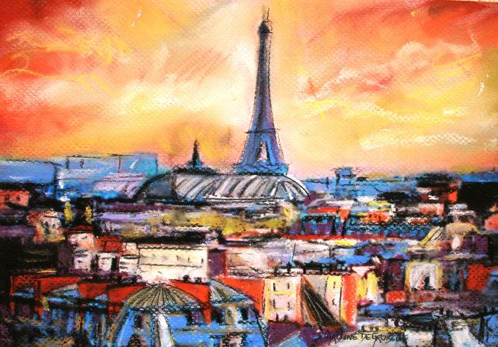 Caroline Degroiselle, Paris aux toits lumière du soir 3240-Pastel