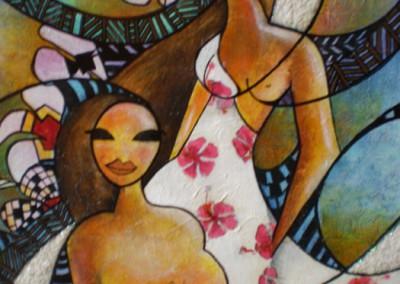 Alain Augias, Les jumelles, 80x60, marouflage sur bois