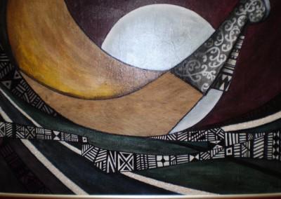 Alain Augias, Resonnance du pacifique, 80x60, marouflage sur bois