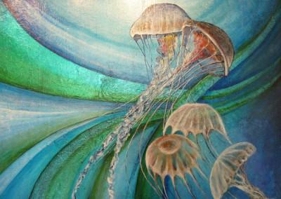 Alain Augias, la danse des méduses, 120x80, TM sur aluminium