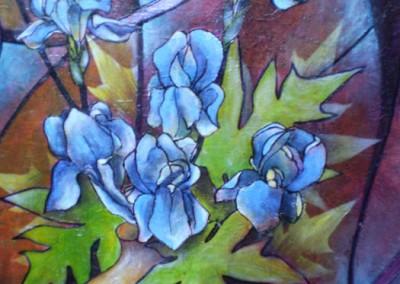 Alain Augias, les iris, 80x60, marouflage sur bois