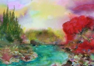 Caroline Degroiselle, La rivière au soir flamboyant 3525-AQ-50x50