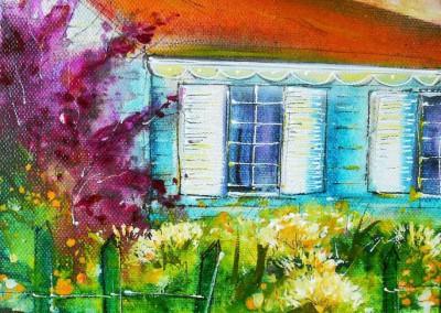 Caroline Degroiselle, Pette maison bleue en fleurs 3540-20x20-AC