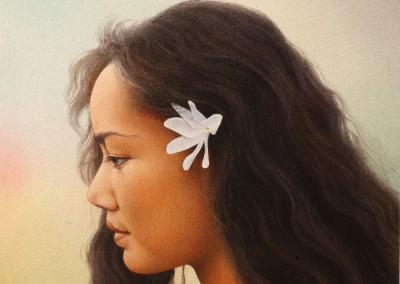 Michel Moulimois, Portrait Tahitienne 26 x 21 cm - pastel